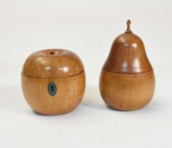 """Two wooden fruit form tea caddys, pear and apple, one with lock, 4"""",6""""H."""