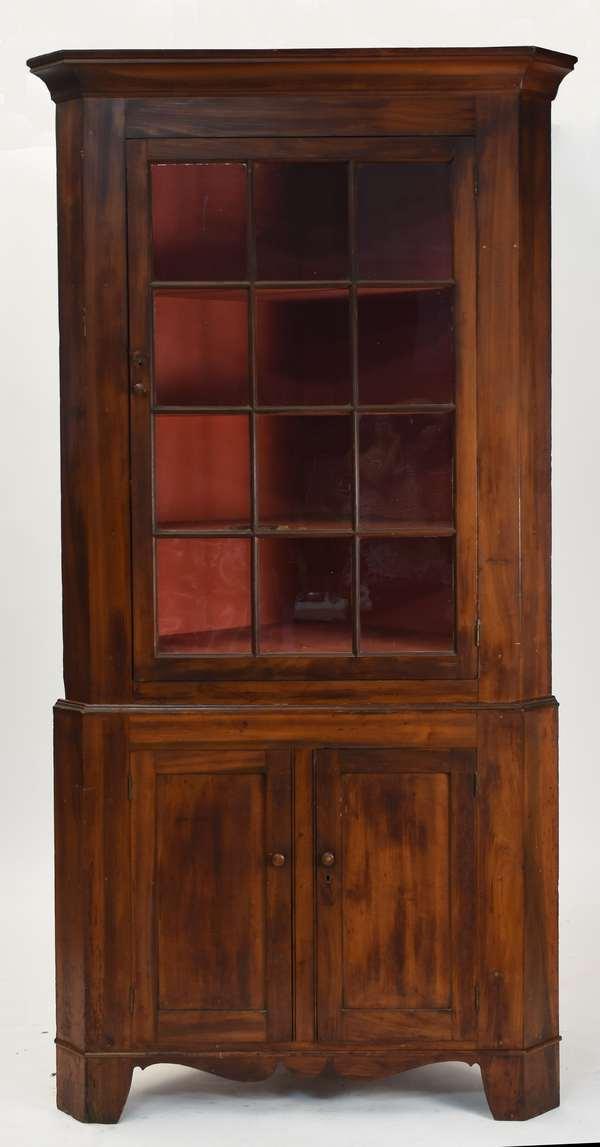 """Two-part Federal corner cupboard with twelve light glass door top, ca. 1820, 88""""H. x 39""""W. x 20""""D."""