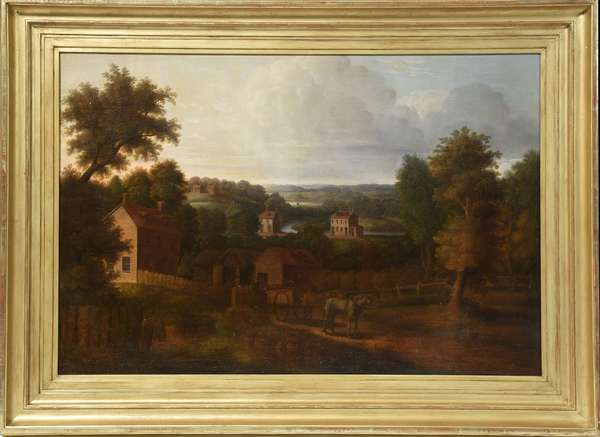 "Primitive oil on canvas, NH Landscape, attributed to John Sherburne Blunt, 24"" x 36"""