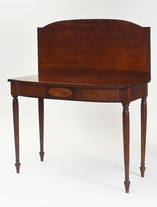 """New England inlaid card table with waterleaf decoration and sectional fluted legs, cherry top, front in mahogany with birch panel, ca. 1815, 37.5""""L x 18""""W x 30""""H"""