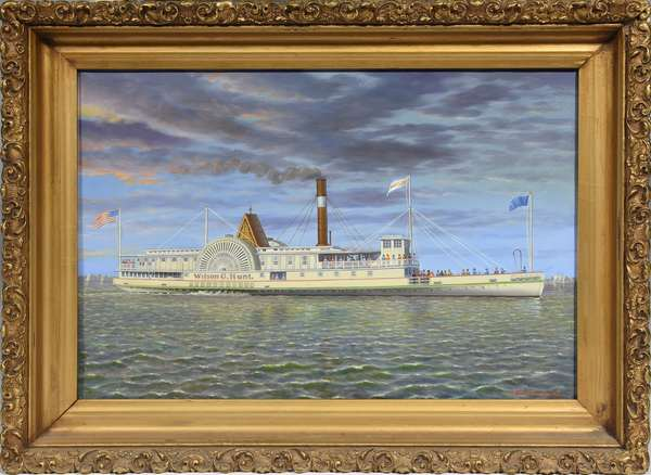 "Oil on canvas, the paddle-wheeler ""Wilson G. Hunt"" by Albert Nemethy, 12.5"" x 18.5"""