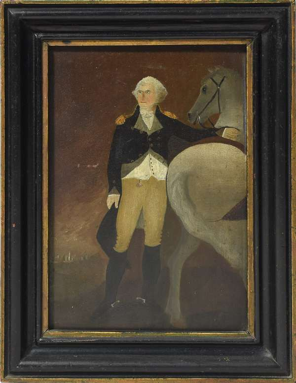 """Oil on board, George Washington with horse, signed and dated on reverse J.O.C. Boston, 1834, 8"""" x 6"""", after Gilbert Stuart's 1806 painting """"Washington at Dorchester Heights"""""""