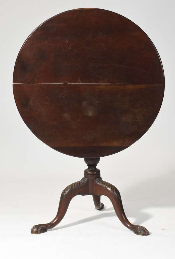 """18th C. MA Chippendale mahogany tilt top tea table with leaf carved knees and claw and ball feet, old finish, 31.5""""W. x 28""""H."""
