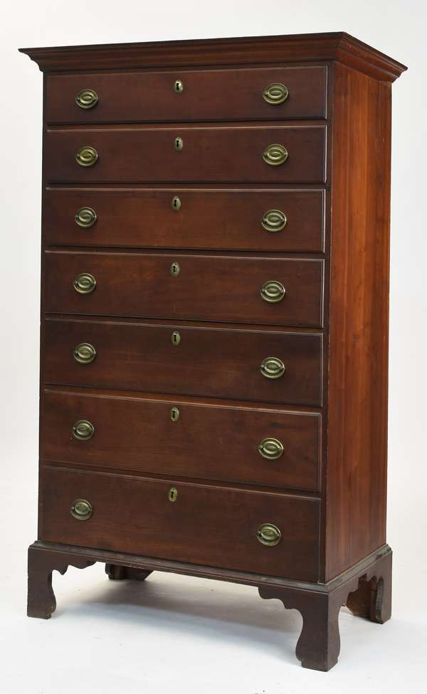 """Choice Chippendale cherry NE seven-drawer tall chest, with good graduation on original base, original brass, old finish, 60.5""""H. x 35.75""""W."""