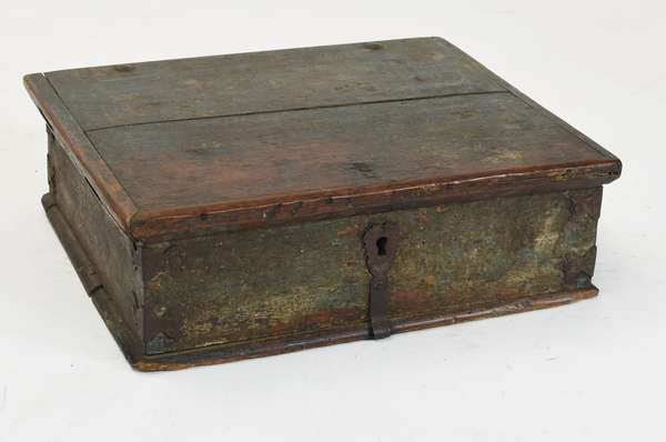 Early 18th C. bible box in old blue grey paint and early iron hardware