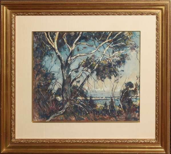 "Watercolor, shoreline signed Wm Lester Stevens, NA, AWS, 14"" x 17"""