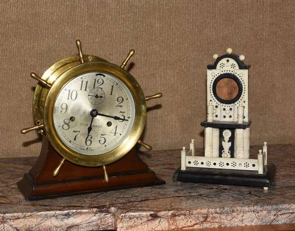 """Seth Thomas ships clock, with a 10""""H. sailor made watch hutch, two pieces"""
