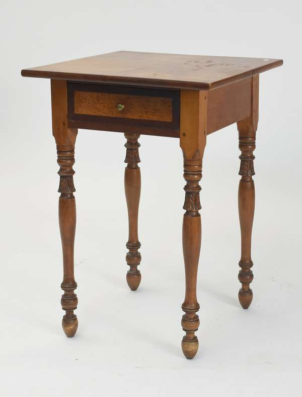 19th C. NH mahogany, maple and birdseye maple one drawer stand with carved legs