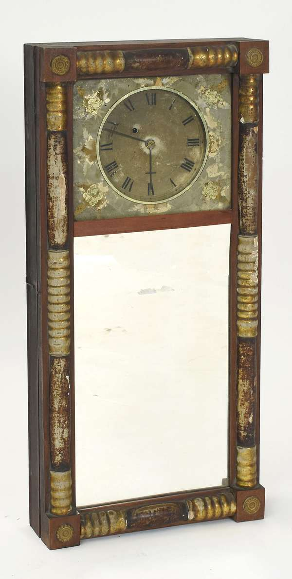 """New Hampshire mirror clock with reverse painted decoration, 30"""" x 14"""""""