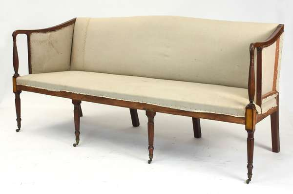 """Fine Federal inlaid mahogany reeded leg sofa, with flame birch panels, ca. 1810,  77""""L."""
