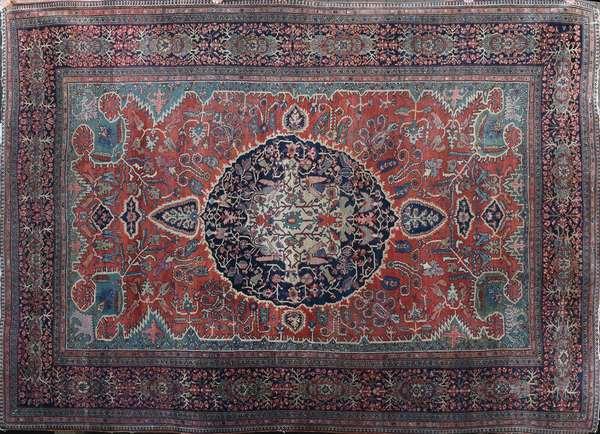 "19th C. room size Oriental Farahan Sarouk, 8'11"" x 12'"