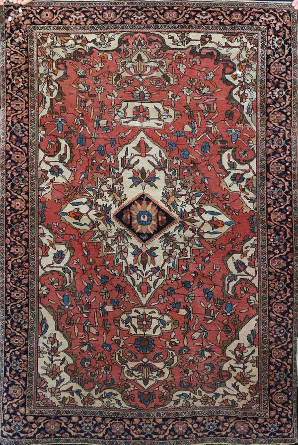 """19th C. Oriental scatter rug, 4'1"""" x 6'6"""""""