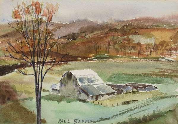 "Paul Sample watercolor, Vermont landscape with farm, signed Paul Sample, 8"" x 11"""