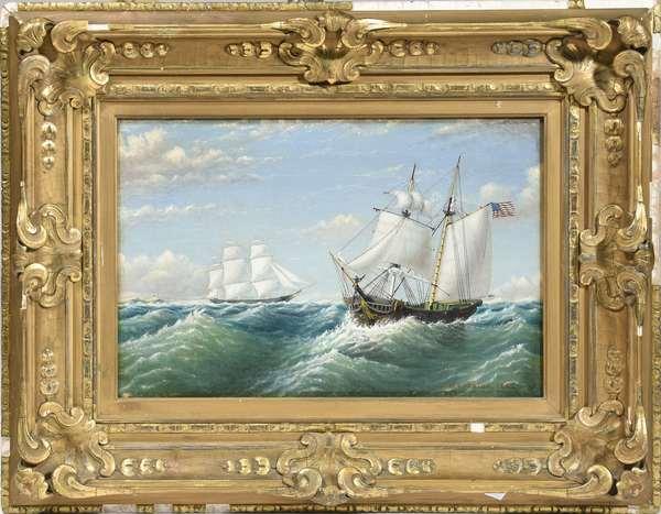 "Nautical oil on canvas signed W.E. Norton 1862, the ship ""Mermaid"", 12"" x 18"""