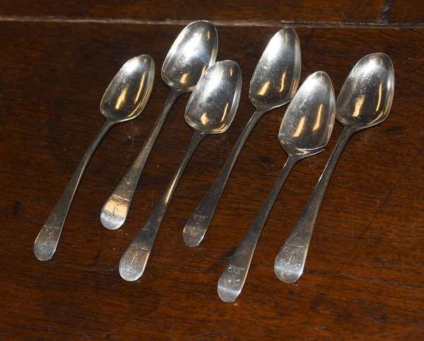 Ref G: Set of six English Georgian silver spoons, Vashon, approx. 2.5 T.oz