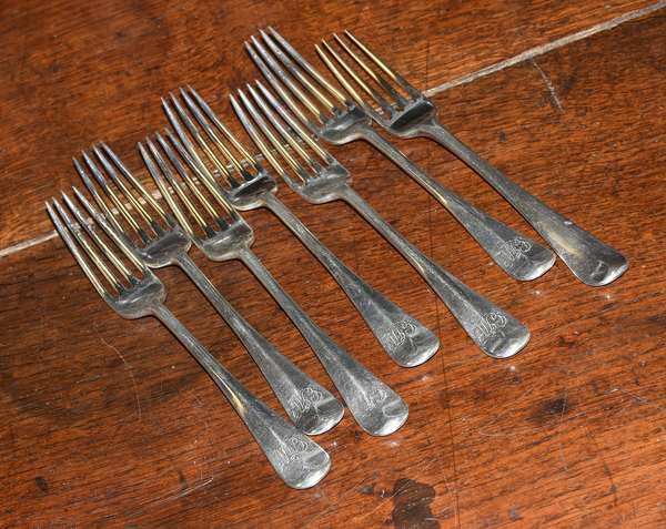 Ref N: Set of six large forks Edward Wheeler and one fork Vashon English silver, approx. 17 T.oz