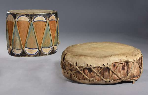 """Ojibwe song drum, bark and hide, with old painted figural decoration, 12""""Dia. x 4.5""""H.; along with a small painted hide drum, 7.5""""Dia. x 6.5""""H."""