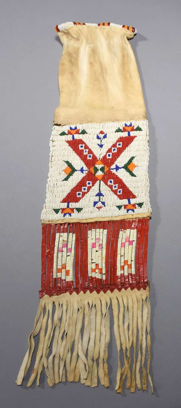 Late 19th/early 20th C. Plains double-sided beaded pipe bag, with lazy stitch beading