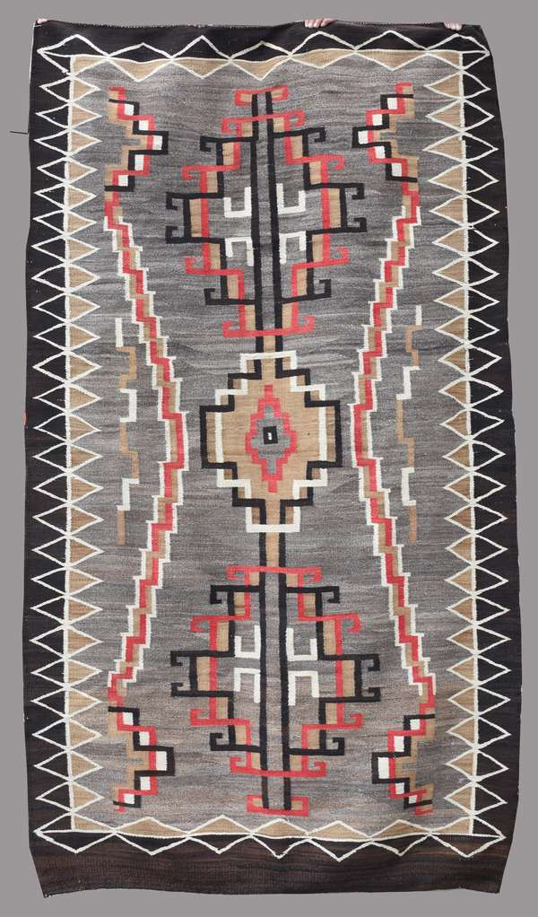 """Navajo storm pattern weaving, with red, black, tan and grey colors, 100"""" x 58"""""""