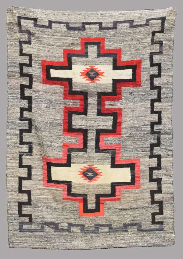 """Navajo geometric weaving, with red, black, purple and grey, 1920-40, wonderful condition, made with high quality, unusual wool, 52"""" x 75"""" (Original museum collection)"""