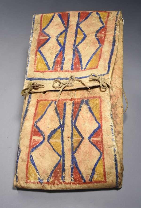 "Blackfeet painted parfleche carrying case, with diamond pattern, ca 1880, 12.5""W x 22.5""L"
