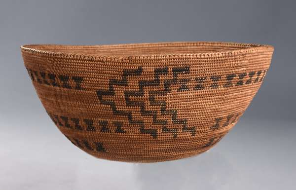 """California coiled woven basketry bowl, lightning pattern, ca. 1900, 11""""D.ia. x 5""""H."""
