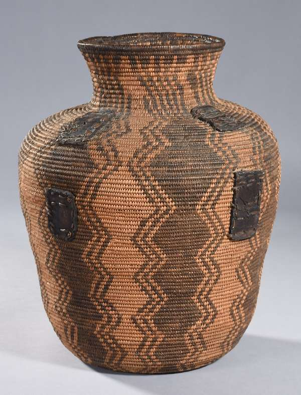 """Apache utility basket with leather straps, ca. 1890, for Native use, 16""""H (Charles Derby provenance)"""