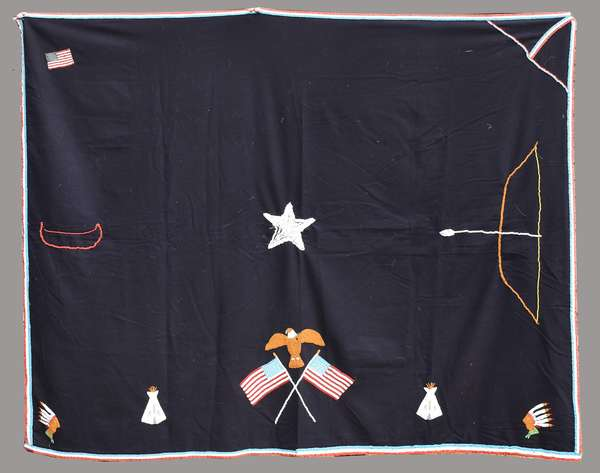 """Black wool beaded story blanket, with American flag, star and eagle decoration, ca. 1940s, possibly commemorating WWII, 69"""" x 56"""""""