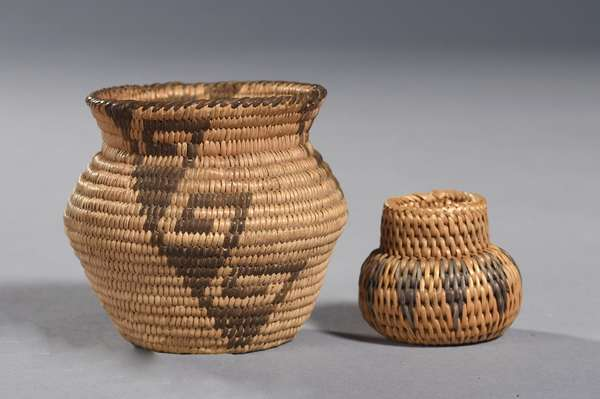 """Two small Southwestern baskets, miniature olla with Greek Key pattern, 3""""H x 3"""" Dia., with other miniature olla, 1.5""""H."""