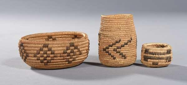 """Three miniature Southwestern baskets: Chukchousi Yokut tribe small bowl, diamond pattern, 4""""Dia. x 1.3""""H.; with two others, 1""""H., 3""""H."""