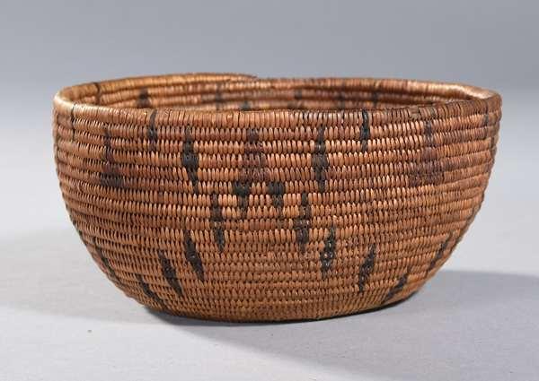 """California woven basketry bowl, 7""""Dia. x 3""""H."""