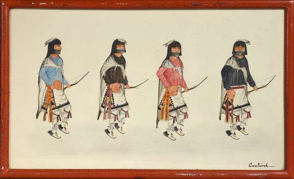 """Awa Tsireh gouache on paper, signed lower right, four Hopi dancers, 9"""" x 15"""" sight"""
