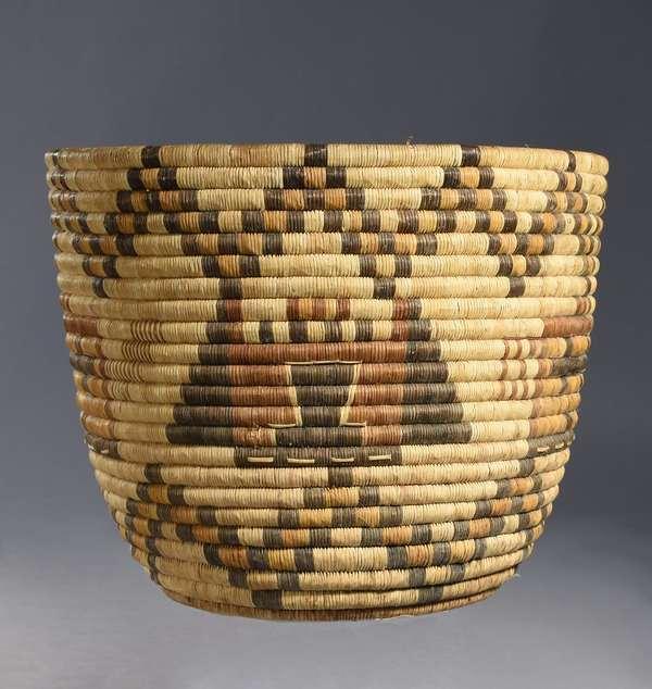 """Large Hopi kachina-head basket, 11.5""""H x 15"""" dia. (damaged bottom)"""