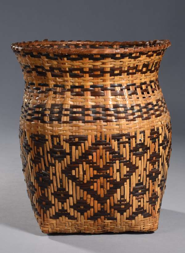 """Large Cherokee Rivercane olla, light and dark brown decoration, square bottom with flared rim, in style of Rowena Bradley, 14""""H x 12"""" dia."""