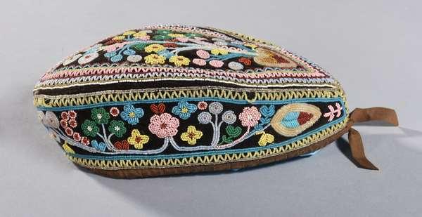 "Seneca/Iroquois Glengarry beaded hat, ca-1860, excellent condition, 10.5""L."