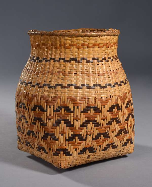 """Cherokee Rivercane olla, dark and light brown decoration, square bottom with flared top 11""""H x 9"""" dia."""