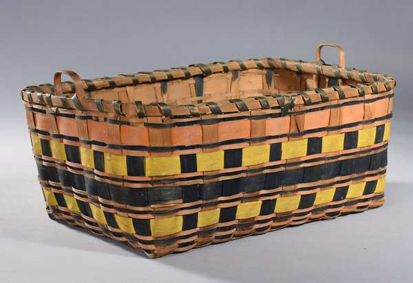 "Wonderful late 19th C. Woodlands rectangular basket with handles, vivid colors, excellent condition, 19""L. x 14""W. x 8""H."
