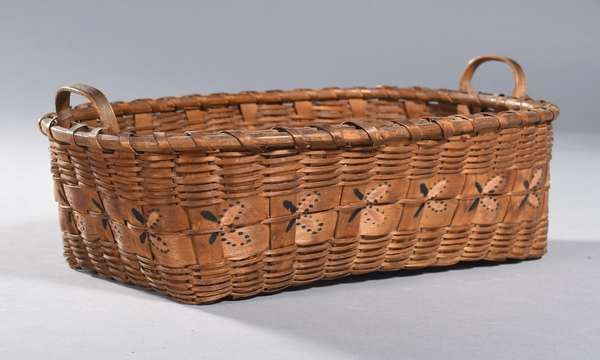 """Small rectangular basket with painted butterfly decoration, from the Schaghticoke Reservation of Western Connecticut, 19th C., 12.5""""L. x 8.5""""W. x 3.5""""H."""