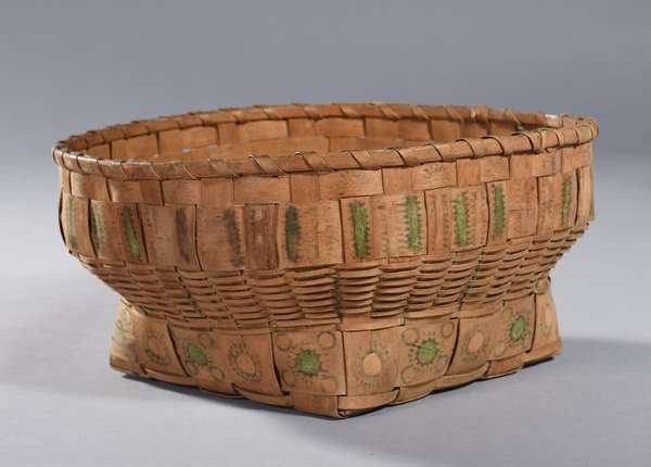 """19th C. Woodlands potato stamp basket with unusual stamps and shape, possibly Penobscot, 11""""Dia. x 6""""H."""