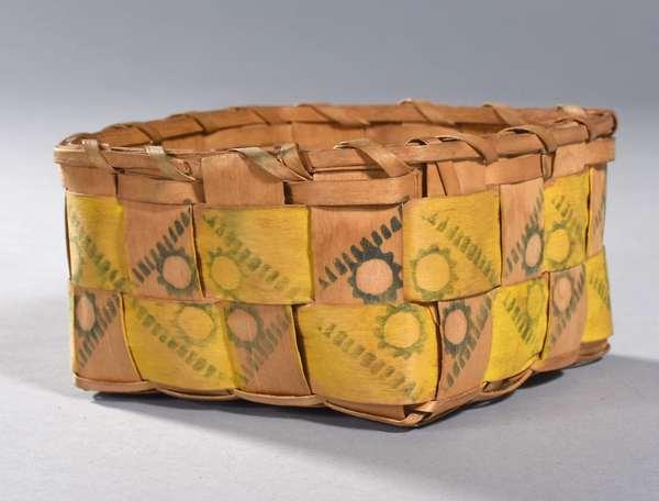 "Small Woodlands rectangular potato stamp splint basket, late 19th C./early 20th C., 6.5""L. x 6.5""W. x 3.5""H."