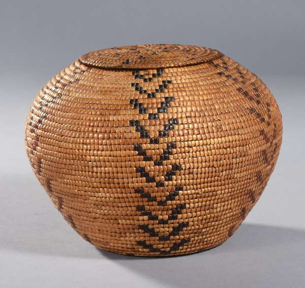 """Lillooet lidded basket, cedar wrapped, with red, black and natural colors, 9"""" Dia. x 6""""H."""