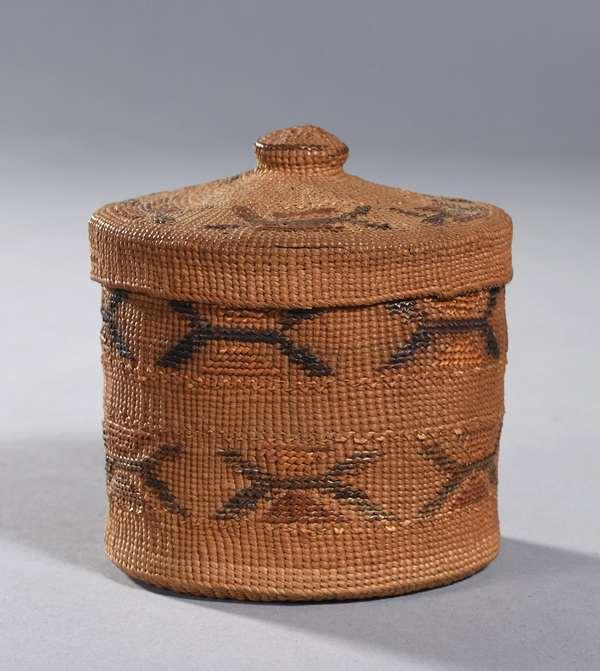 "Small Tlingit woven lidded basket, 4""H. x 4""Dia."