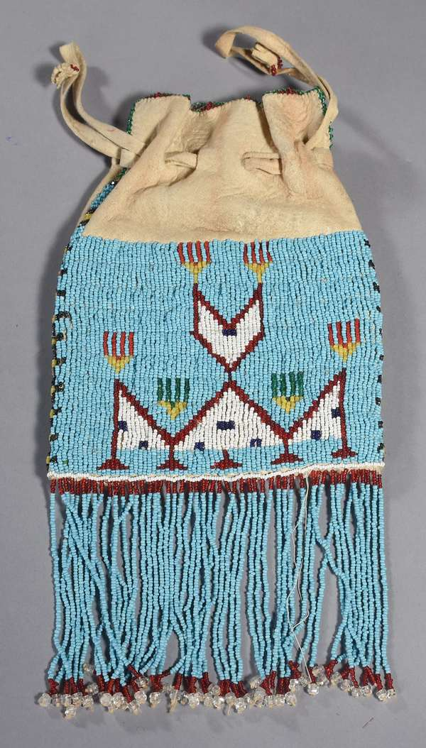 """Beaded drawstring pouch, with beaded bottom fringe, decorated on both sides, Sioux/Cheyenne, 8.5""""H"""