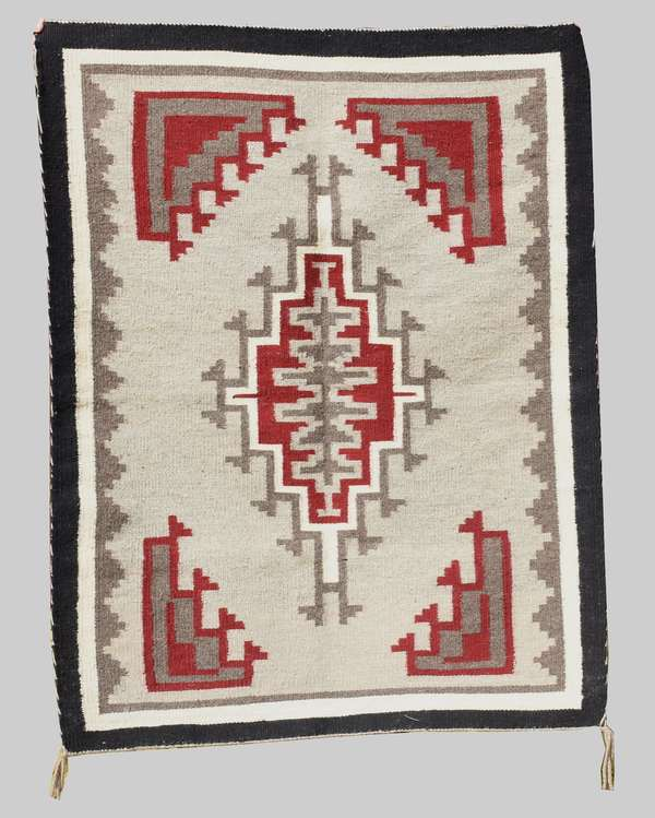 "Navajo weaving, made by Nellie Tsosie of Ganado, mid 20th C., 32"" x 41"""