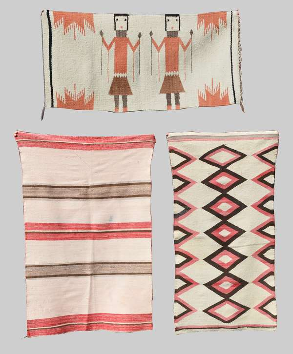"""Three small Navajo weavings: striped saddle blanket, 50"""" x 35""""; early child's blanket with black and red diamonds, 45"""" x 24"""", and Yei weaving, 36"""" x 17.5"""""""