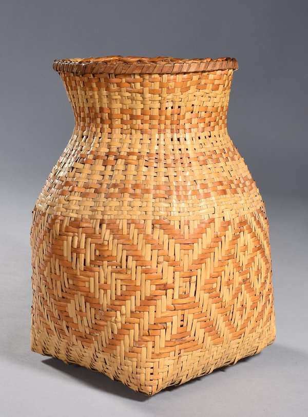 """Large Cherokee Rivercane olla, light brown decoration, square bottom with flared rim, 14""""H x 9"""" dia."""