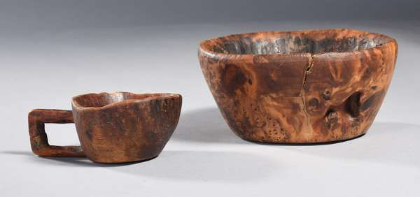 """Burl bowl and handled cup, Eastern Woodlands, bowl 6.5"""" dia."""
