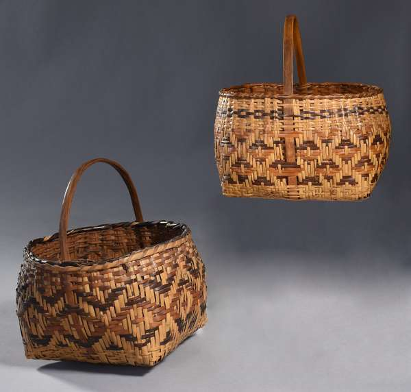 """Two Cherokee Rivercane baskets, tricolor, 9""""L x 11""""H and 9"""" dia. x 12""""H"""