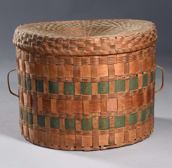 """Late 19th C. Maine Woodlands lidded utility basket, with side handles, painted, 12.5"""" dia. x 10""""H (minor damage)"""