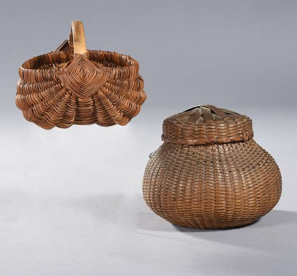 """Covered olla, finely woven, possibly Eastern, 5""""H x 5.5"""" dia.; with a small Southern buttocks basket, 5""""L,"""